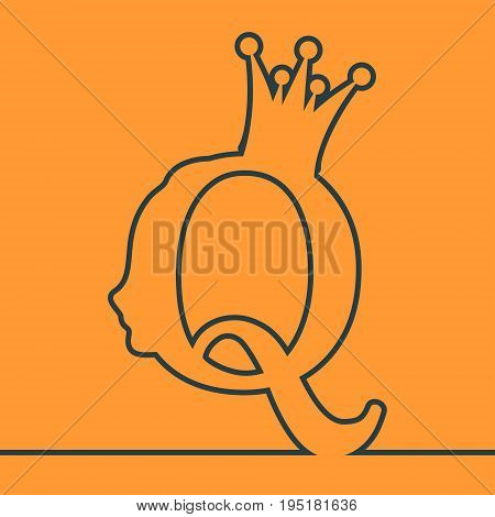 Vintage queen silhouette. Medieval queen profile. Elegant outline silhouette of a female head. Monochrome gamma. Royal emblem with Q letter