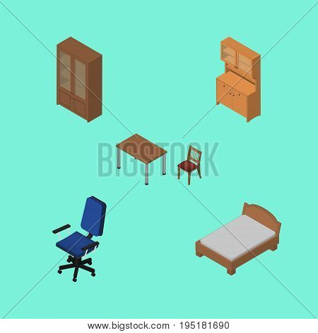 Isometric Furnishing Set Of Chair, Bedstead, Cupboard And Other Vector Objects. Also Includes Bedstead, Furniture, Bed Elements.