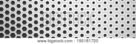 White Wide Hexagon Background