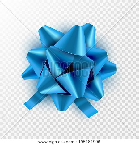 Blue bow ribbon isolated. Vector illustration for celebration birthday card. Festive blue bow decoration for holiday gift.