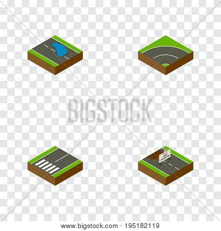 Isometric Road Set Of Footpassenger, Bitumen, Repairs And Other Vector Objects. Also Includes Asphalt, Bitumen, Construction Elements.