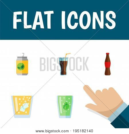 Flat Icon Beverage Set Of Lemonade, Cup, Fizzy Drink And Other Vector Objects. Also Includes Bottle, Cola, Juice Elements.