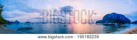 Sunset at Corong-Corong beach, El Nido, Palawan, Philippines Panorama