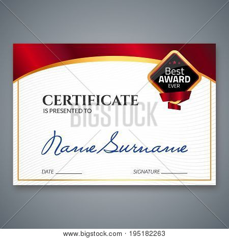 Certificate template luxury award. Vector business diploma with seal stamp. Gift coupon or success achievement.