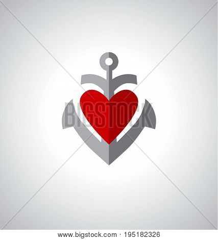 concept anchor icon with heart, vector illustration