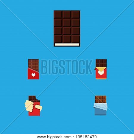Flat Icon Bitter Set Of Chocolate, Dessert, Shaped Box And Other Vector Objects. Also Includes Box, Shaped, Dessert Elements.