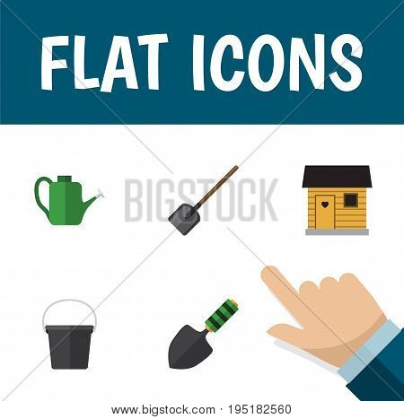 Flat Icon Dacha Set Of Shovel, Pail, Bailer And Other Vector Objects. Also Includes Can Bailer, Tool, Spatula Elements.