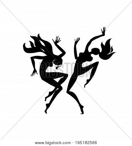 abstract black girl dancing silhouette. vector illustration