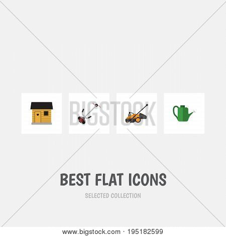 Flat Icon Farm Set Of Bailer, Stabling, Grass-Cutter And Other Vector Objects. Also Includes Lawn, Watering, Cutter Elements.
