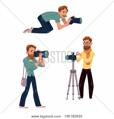 Set of photographers at work and professional equipment, cartoon vector illustration on white background.
