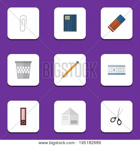 Flat Icon Equipment Set Of Trashcan, Date Block, Dossier And Other Vector Objects. Also Includes Drawing, Scissors, Notepad Elements.