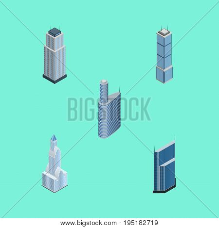 Isometric Building Set Of Cityscape, Building, Tower And Other Vector Objects. Also Includes Exterior, Cityscape, Urban Elements.