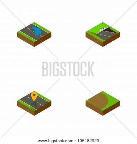 Isometric Way Set Of Underground, Navigation, Rotation And Other Vector Objects. Also Includes Turning, Underground, Rotation Elements.