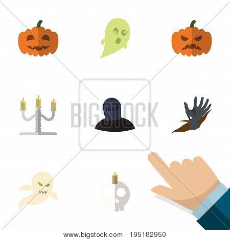 Flat Icon Celebrate Set Of Pumpkin, Candlestick, Phantom Vector Objects. Also Includes Grave, Specter, Cranium Elements.