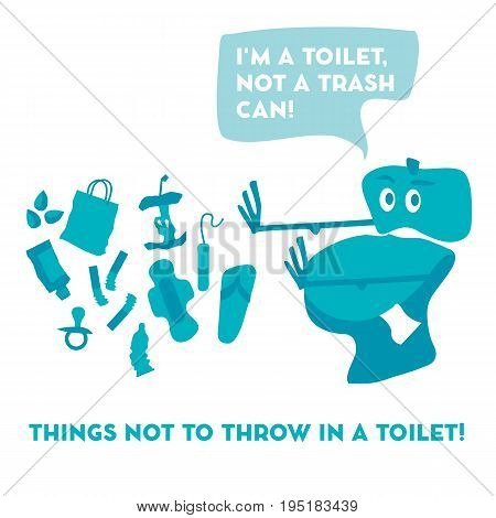 simple concept toilet pan and garbage vector illustration