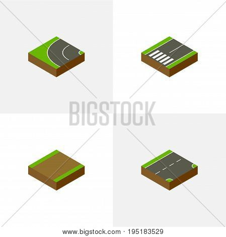 Isometric Way Set Of Footpath, Down, Footpassenger And Other Vector Objects. Also Includes Bitumen, Down, Footpassenger Elements.
