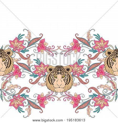 Seamless pattern, background with vintage style flowers and tiger in pink and green colors. Stock line vector illustration.