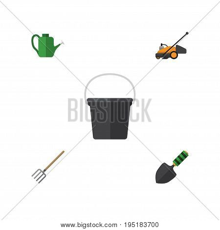Flat Icon Garden Set Of Pail, Bailer, Hay Fork And Other Vector Objects. Also Includes Cutter, Pail, Container Elements.