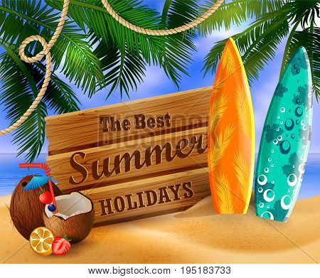 tropical vector background with summer sky and clouds wooden desk coconut surfing boards on a sand beach