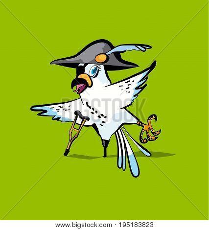 fun white pirate parrot cartoon vector illustration