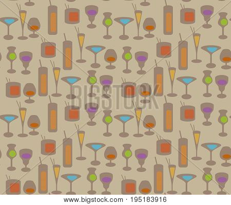 cocktail repeating pattern vector illustration. vector illustration