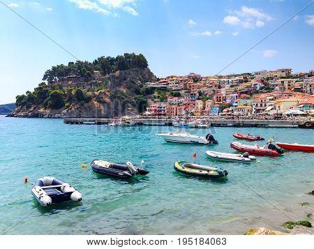Panoramic view of Parga greek sea resort town at Ionian sea, Greece