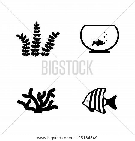 Aquarium Inhabitants. Simple Related Vector Icons Set for Video, Mobile Apps, Web Sites, Print Projects and Your Design. Black Flat Illustration on White Background.