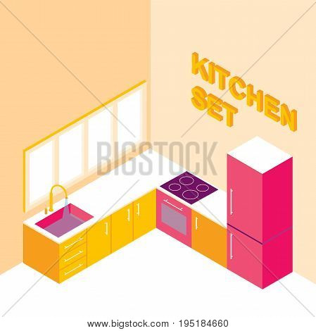 kitchen set in isometric.Modern kitchen interior with walls and colorful furniture.vector illustration with isolated elements.Room includes furniture and major kitchen appliances