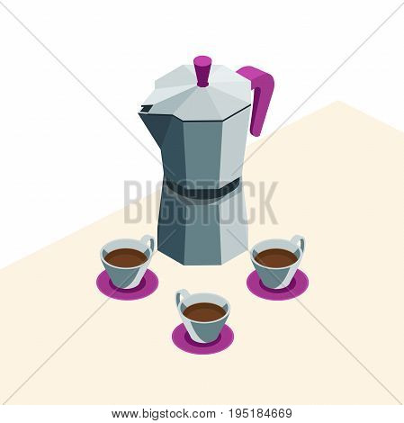 geyser coffee maker with mugs on the table.coffee set of three coffee Cup and the hot coffee in isometric. Vector illustration with isolated elements.