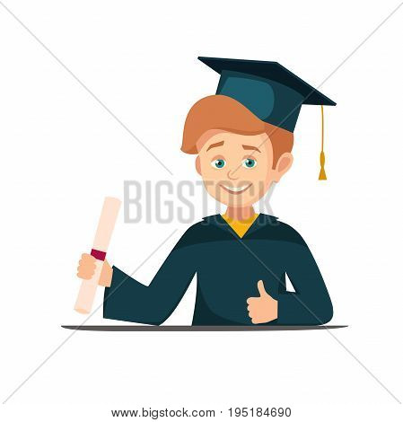 portrait of a graduate holding a scroll diploma. Vector boy in graduation cap with diploma smiling. High school graduation. vector illustration isolated on white background