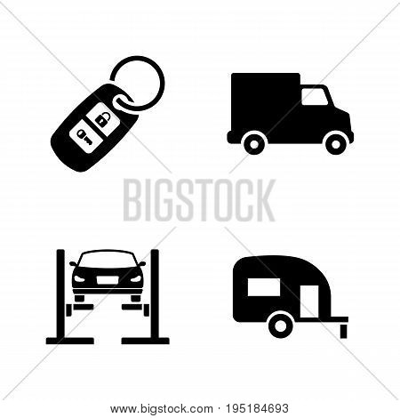 Auto. Simple Related Vector Icons Set for Video, Mobile Apps, Web Sites, Print Projects and Your Design. Black Flat Illustration on White Background.