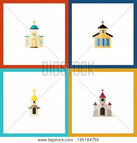 Flat Icon Christian Set Of Religious, Catholic, Traditional And Other Vector Objects. Also Includes Catholic, Christian, Traditional Elements.