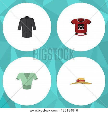 Flat Icon Clothes Set Of Elegant Headgear, Casual, Uniform And Other Vector Objects. Also Includes Clothes, Blouse, Kimono Elements.