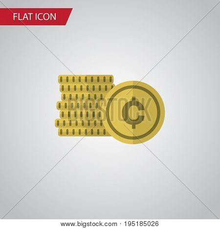 Isolated Coin Flat Icon. Cash Vector Element Can Be Used For Cash, Shiner, Coin Design Concept.
