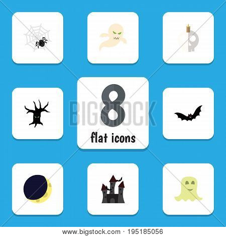 Flat Icon Halloween Set Of Spinner, Crescent, Terrible Halloween And Other Vector Objects. Also Includes Ghost, Cobweb, Spider Elements.