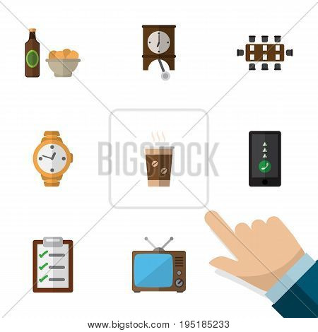 Flat Icon Life Set Of Beer With Chips, Boardroom, Television And Other Vector Objects. Also Includes Conference, Television, Chips Elements.
