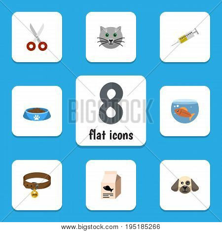 Flat Icon Animal Set Of Fishbowl, Shears, Fish Nutrient And Other Vector Objects. Also Includes Aquatic, Medicine, Clippers Elements.