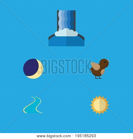 Flat Icon Nature Set Of Solar, Bird, Half Moon And Other Vector Objects. Also Includes Estuary, Wing, Bird Elements.