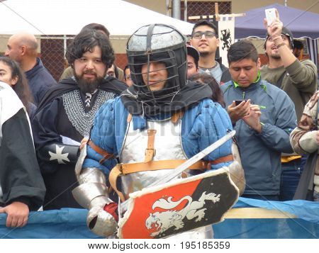 TUCUMÁN, ARGENTINA - JULY 8, 2017 - Medieval Fest for kids. People disguissed with medieval clothes. Fights.