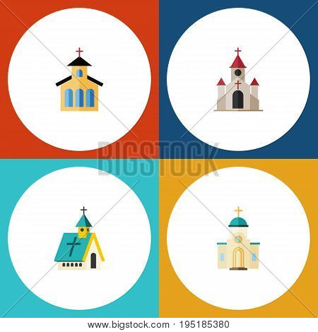 Flat Icon Church Set Of Catholic, Traditional, Religious And Other Vector Objects. Also Includes Architecture, Religious, Traditional Elements.