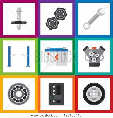 Flat Icon Service Set Of Auto Jack, Spanner, Belt And Other Vector Objects. Also Includes Automatic, Battery, Bearing Elements.