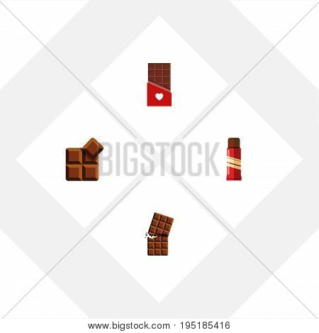 Flat Icon Chocolate Set Of Wrapper, Sweet, Chocolate And Other Vector Objects. Also Includes Dessert, Sweet, Bitter Elements.
