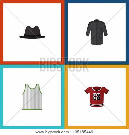 Flat Icon Clothes Set Of Singlet, T-Shirt, Uniform And Other Vector Objects. Also Includes Blouse, Uniform, Singlet Elements.