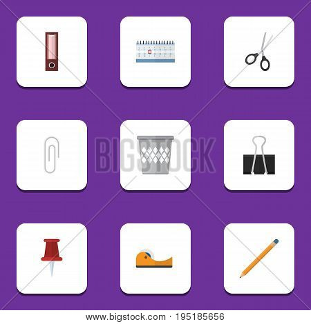 Flat Icon Stationery Set Of Sticky, Drawing Tool, Dossier And Other Vector Objects. Also Includes Almanac, Date, Drawing Elements.