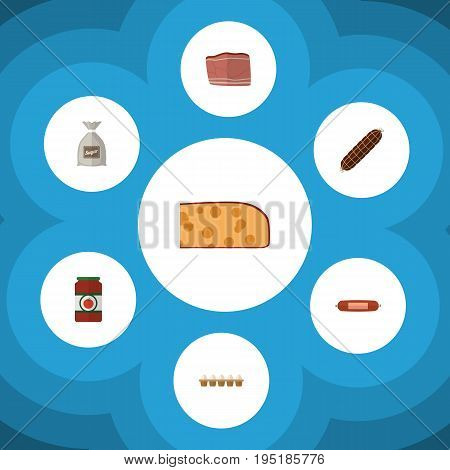 Flat Icon Food Set Of Beef, Ketchup, Sack And Other Vector Objects. Also Includes Breakfast, Sauce, Food Elements.