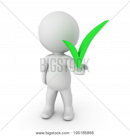 3D Character holding in his hand a green check mark. Isolated on white.