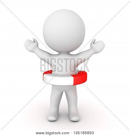 3D Character raising his hands and wearing life saving bouy. Isolated on white.