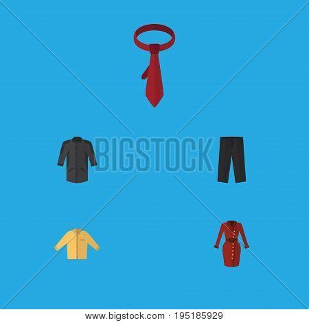 Flat Icon Dress Set Of Banyan, Clothes, Cravat And Other Vector Objects. Also Includes Garment, Uniform, Cravat Elements.