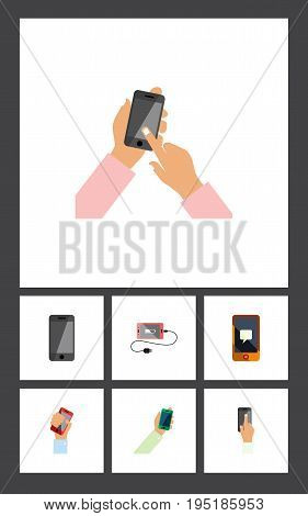 Flat Icon Smartphone Set Of Accumulator, Interactive Display, Keep Phone And Other Vector Objects. Also Includes Message, Telephone, Interactive Elements.