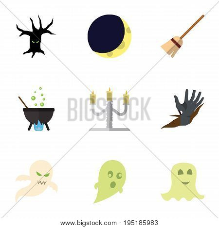 Flat Icon Celebrate Set Of Terrible Halloween, Phantom, Spirit And Other Vector Objects. Also Includes Crescent, Hand, Monster Elements.